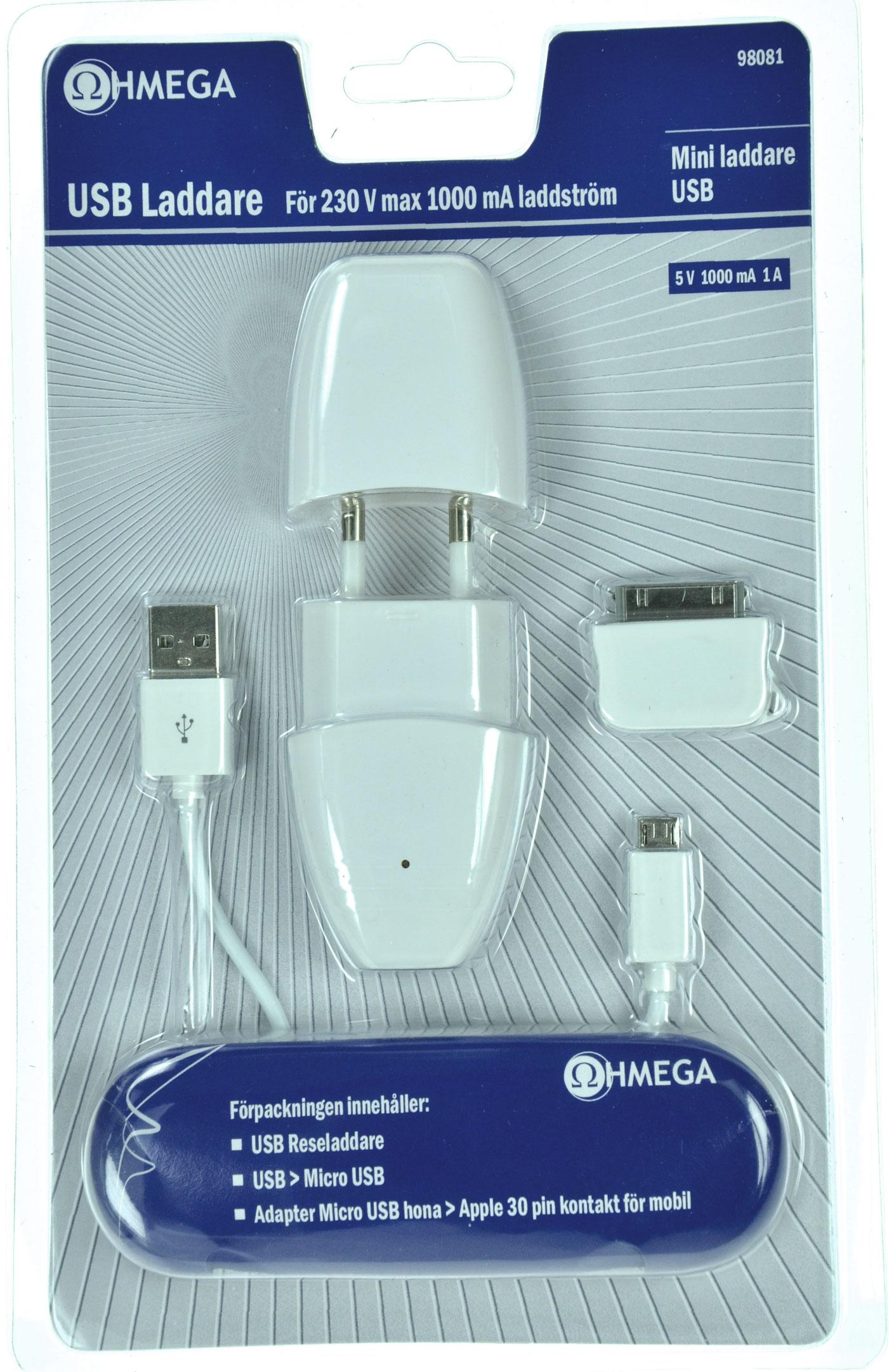 Ohmega Mobilladdare 230v USB-